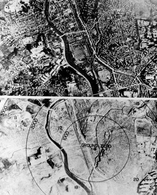 The city of Nagasaki is shown as a teeming urban area, above, then as a flattened, desolate moonscape following the detonation of an atomic bomb, below.  Circles delineate the thousands of feet from ground zero.  (AP Photo)